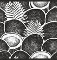 coconut with palm leaves seamless pattern hand vector image