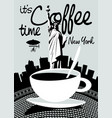 coffee banner on background statue liberty vector image vector image