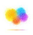 Colorful paint splash and powder cloud on white vector image
