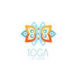 creative floral ornament yoga logo vector image