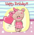 cute cartoon teddy bear with balloon vector image vector image