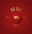 design a red banner for a big sale and a discount vector image