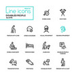 disabled people - line design style icons set vector image