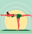 girl in the yoga warrior pose or virabhadrasana vector image vector image