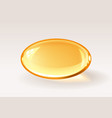 golden trasparent capsule - realistic medical pill vector image vector image