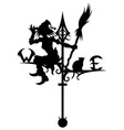 Halloweens weathervane with silhouette of a Witch vector image