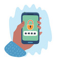 hands with smartphone locked vector image