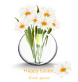 happy easter card with chamomile flowers bouquet vector image vector image