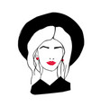head or face of stylish lady with long hair red vector image