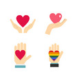 heart in hand icon set flat style vector image