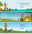 hunters on hunt banners cartoon of vector image vector image