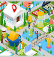 isometric business city with financial items vector image vector image
