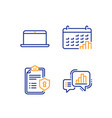 laptop calendar graph and privacy policy icons vector image vector image