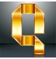 Letter metal gold ribbon - Q vector image vector image