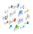 mail icons set isometric 3d style vector image