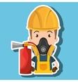 man mask extinguisher icon vector image
