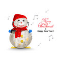 merry christmas cute snowman listening to music vector image