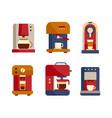 office coffee machine icons flat style design vector image