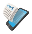 Online reading news using smartphone cartoon icon vector image vector image