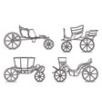 outline set classic cab retro wagon vector image vector image