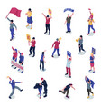 protesting people isometric set vector image vector image