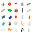 rest in singapore icons set isometric style vector image vector image