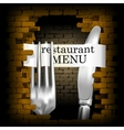 restaurant menu knife and fork for brick wall vector image