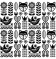 scandinavian seamless folk art pattern - black vector image vector image