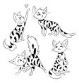 set of cartoon cats collection of cute spotted vector image