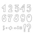 set of cartoon contour numbers vector image vector image