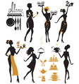 set of girl silhouettes waitress with tray vector image vector image