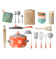 set of kitchen tools kitchenware and kitchen vector image