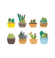 set of plants in pots isolated on white vector image