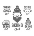 skiing club isolated badge or emblems vector image vector image