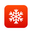 snowflake icon digital red vector image vector image