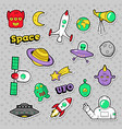 space ufo robots and aliens badges stickers vector image