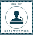 speaker orator speaking from tribune icon vector image vector image