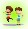 two kids one of them jump vector image