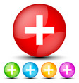 white cross on colored shapes - white cross vector image vector image