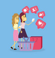 women and social networks vector image