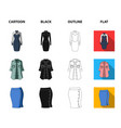 women clothing cartoonblackoutlineflat icons in vector image vector image