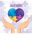 world autism day with hand and heart vector image vector image