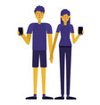 young couple using smartphone vector image