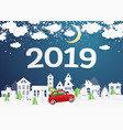 2019 christmas village and red truck carry vector image
