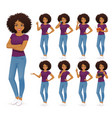 african woman in jeans set vector image vector image
