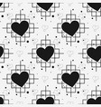 black heart and line seamless pattern on white vector image vector image