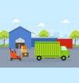 cargo service delivery truck warehouse building vector image