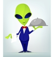 Cartoon Waiter Alien vector image vector image