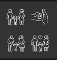 child custody chalk icons set vector image