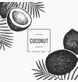 coconut with palm leaves design template hand vector image vector image